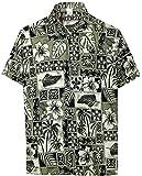 *La Leela* Uomini Rilassato Fit Aloha Hawaiian Pulsante Manica Corta in Giù Camicia Hawaiana 3XL Nero