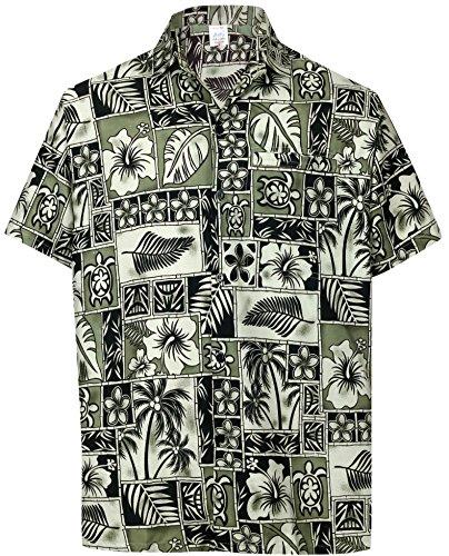 La-Leela-Los-Hombres-Se-relajaron-Aloha-Botn-de-La-Manga-Corta-Hawaiano-EN-Forma-de-Camisa-Hawaiana-l-Negro