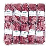 Gründl 3422–04Alaska Print, Avantage Pack de 10à Tricoter 100g Fil Tricoté à la Main 80% polyacrylique, 20% Laine, Cherry Color, 40X 37X 11cm