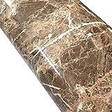 wdragon hellbraun Marmor Folie, selbstklebend, glänzend, Vinyl, Küche zinntheken Abziehen Stick Tapete Aufkleber 61x 200,7cm braun
