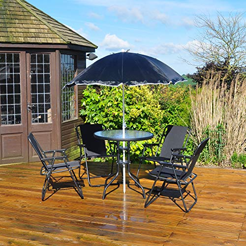 Kingfisher 6 Piece Patio Dining Set - 4 Seater Outdoor Garden Furniture with Glass Topped Table + 4 Folding Chairs + Parasol Umbrella for Decking or Balcony