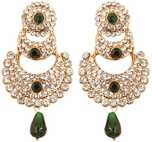 Touchstone indischen Bollywood weiß Kristalle und Grün Faux Smaragd chaand Bali Mond Designer Schmuck Kronleuchter Ohrringe für Damen in Antik Gold Ton.