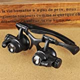 #8: Krismile? 4 Pairs 10X 15X 20X 25X Watch Repair Glasses Eyewear Magnifier Loupe with LED New Loupe 9892G