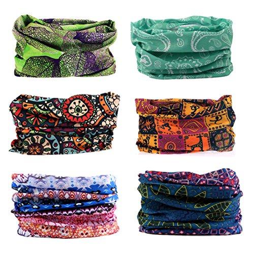 Elastisches Stirnband Multifunktionale Sport Nahtlose Magische Kopfbedeckung Outdoor Halstuch Schal mit UV Beständigkeit (Boho Serie)