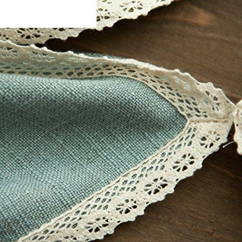Maoge Home tischdecke,Vintage tischdecke,Stoff Baumwolle leinen.Lattice Edge Spitze teetisch sauber längliche tischdecke-mehrere Farben.-A 130x180cm(51x71inch) -