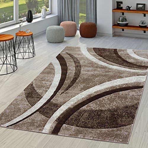 Tappeto per soggiorno, a righe, moderno con orlo esterno cucito, in marrone, beige e crema, polipropilene, 120 x 170 cm