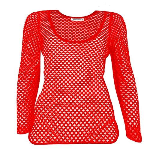 Janisramone - Débardeur - Manches Longues - Femme noir * taille unique red