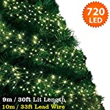 Cluster Lights 720 Warm White LED Fairy Lights ( 9m / 30ft Lit Length ) Multi-action Mains Operated Green Cable - Indoor & Outdoor