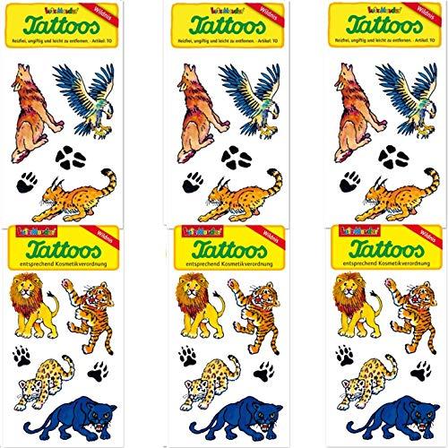 Carpeta 6-teiliges Tattoo-Set * Wilde Tiere * vom Mauder-Verlag | Kinder Kindertattoo Geburtstag Mitgebsel Tier Safari Savanne Mitgebsel