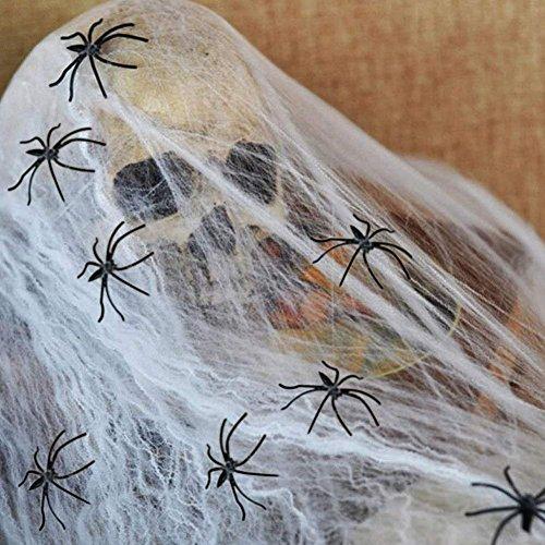 Decoración de Halloween juego de decoración de miedo con más de 30 partes Techo colgante guirnalda de miedo, cadena de banderín, globo, tela de araña con arañas, fantasmas para la decoración de la casa, mesa y jardín de TK Group (tela de araña)