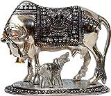 #7: Metal Made Cow and Calf Idol/Krishna Darling Cow Calf Idol/Kamdhenu Cow Idol/Metal Gau MATA Idol with All Devtas- Vrindavan