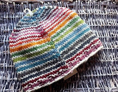 Price comparison product image Rainbow Stripe Luxury 100% Wool Hand Knitted Beanie Hat Fair Trade Lined