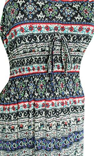 Mevina Damen Kleid Gipsy Hippie Ibiza Muster mit V-Ausschnitt lang Sommerkleid Multicolor süßes Urlaubskleid Modell 7 Modell 2