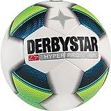 Derbystar Fußball Hyper Pro Light, Kinder Trainingsball, Ball Größe 4 (350 g), weiß Gelb Blau, 1021