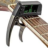 Accordeur de guitare 2 en 1 Accordeur de guitare professionnel Capo avec LCD chromatique numérique Accordeur de guitare pour