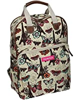 Roche Butterfly Print Essex Womens Backpack Ladies Rucksack Bag with iPad / Tablet case Beige