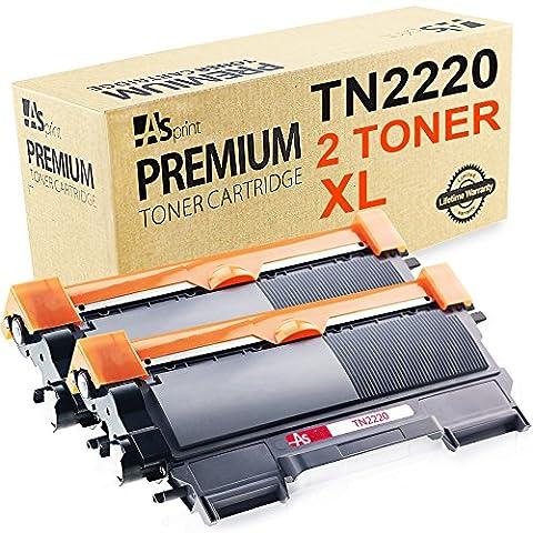 ASprint 2 X Compatible TN2220 TN-2220 TN-2210 XL Brother Cartouche de toner d'encre Noir 2,600 Page Utiliser pour HL-2230 2240 2240D 2270DW 2280DW DCP-7065DN MFC-7240 7360N 7460DN 7860DW Printer TN 2220