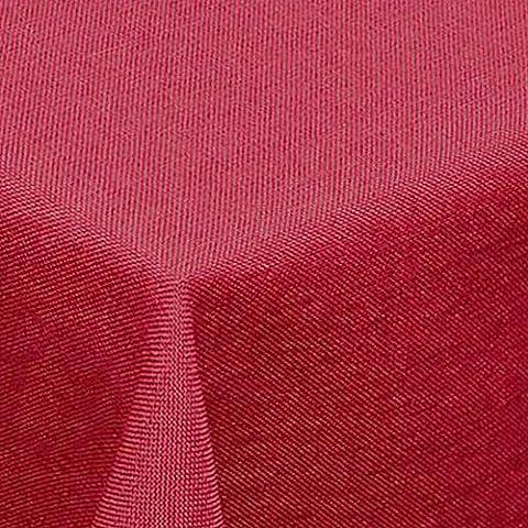 amp-artshop© Leinen Optik Tischdecke · Rund 160 cm Rot - Farbe wählbar · mit Lotus Effekt