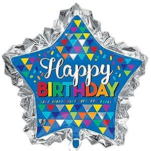 Amscan-33600134x 32-Inch Primaria Sketchy patrones Feliz cumpleaños Foil Super forma decoración Set