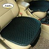 Haosen 2 Stück PU-Leder Sitzbezüge Massage Sitzbezügesets Sitzauflagen Auto Sitzkissen Autozubehör Sitzbezüge - PU-Leder Material,Rutschfest Bequem (Schwarz)