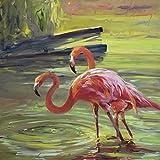 Artland Qualitätsbilder I Bild auf Leinwand Leinwandbilder Wandbilder 50 x 50 cm Tiere Vögel Malerei Rot D0EM Flamingo III