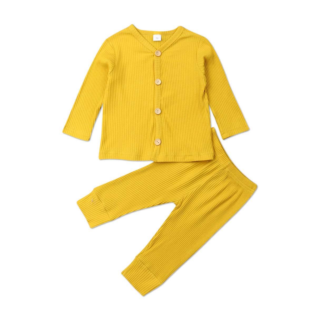 Conjunto de pijama de manga larga con botones y pantalones largos, de algodón de dos piezas 1