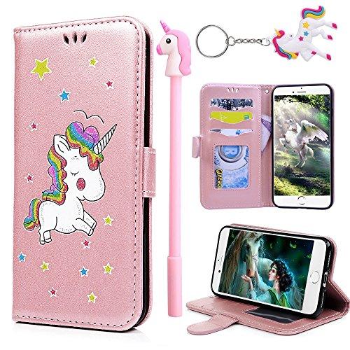 E-Mandala Custodia Cover Samsung Galaxy J3 2016 2015 Unicorni Pelle aLibro Flip Case Portafoglio ModelloDisegni Silicone Antiurto Morbido Bumper - Oro Rosa
