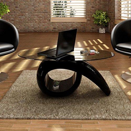 binzhoueushopping Table Basse avec Dessus de Table en Verre Ovale Hauteur 44,7 cm Noir Brillant Table Basse Design