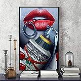 Rjjwai Mur Art Photo Toile Peinture À L'Huile Le Rouge Lèvres Pistolet Argent Pour Salon Décor À La Maison No Frame Décor À La Maison Rouge Chambre À Coucher 40x60cm