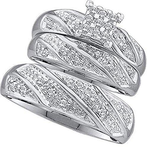 0.28carati in oro bianco 10K (Ctw) rotondo bianco diamante da uomo e da donna anello di fidanzamento Trio nuziale set 1/4ct