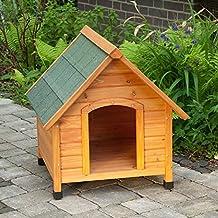 Caseta de perro para exterior, de madera ligera, con techo inclinado