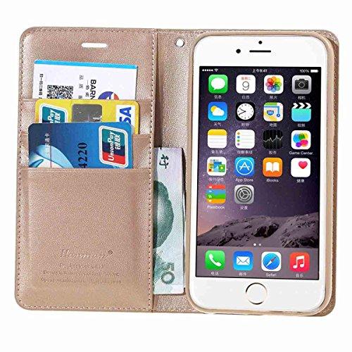 Housse iPhone 6, MSK® Etui cuir pour Apple iPhone 6/6S Coque PU Cuir Flip Magnétique Portefeuille Etui Housse de Protection Coque Étui Case Cover avec Stand Support Avec des Cartes de Crédit Slot et F D'or