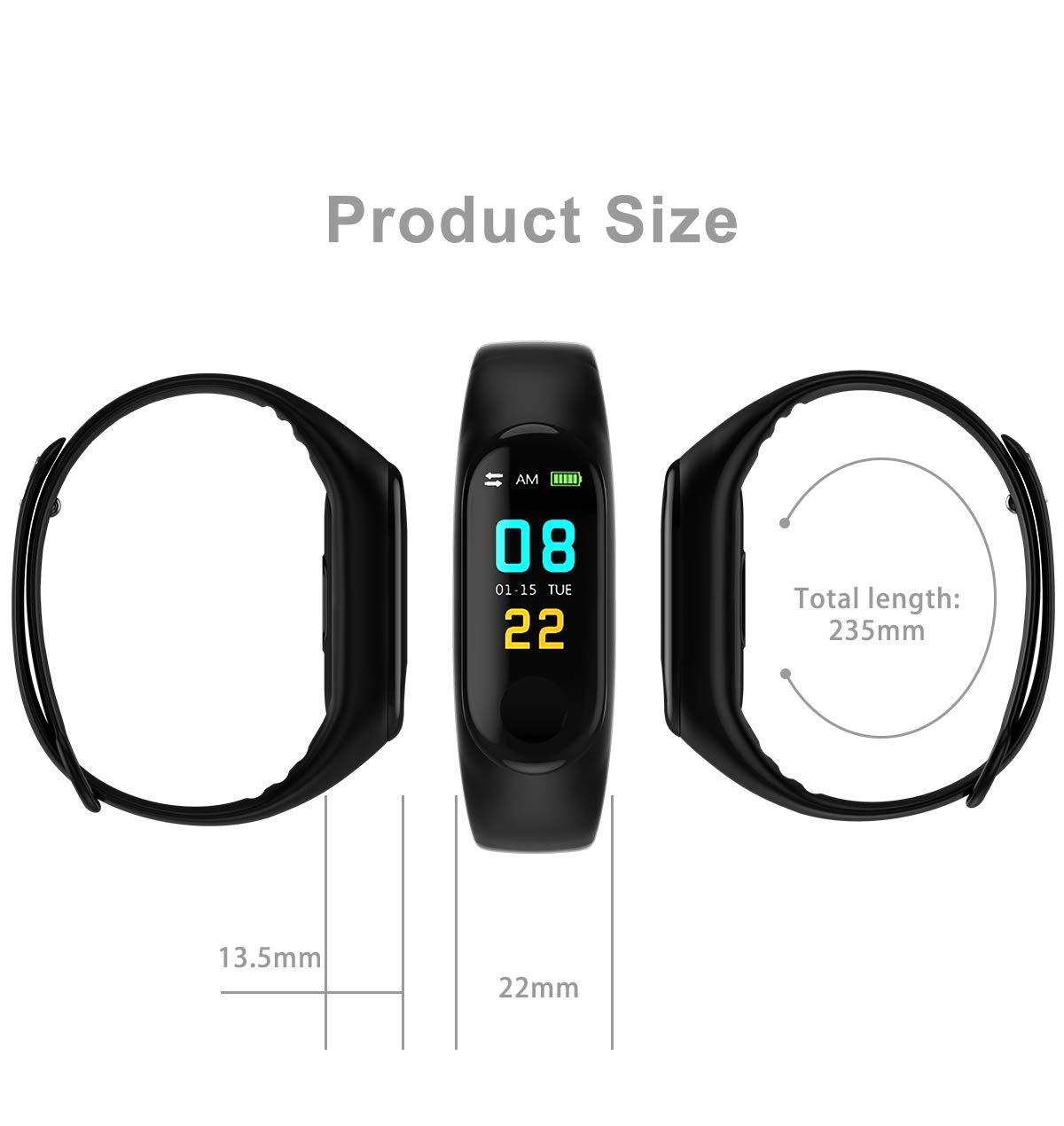 NMJG M3 Pulsera de Actividad, Impermeable IP68 Monitores Inteligente con Pulsómetro Fitness Tracker Smartwatch Reloj Deportivo Monitor Ritmo Cardíaco 8