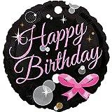 paduTec Heliumballon Ballon Folienballon - Glamour Glitzer Schleife - Happy Birthday Geburtstag Deko - mit Helium gefüllt