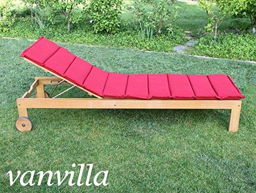 vanvilla Sonnenliege Gartenliege Holz Relaxliege Liegestuhl SOLANO Auflage ROT