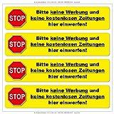 STOPP - Bitte keine Werbung ... - Vinylaufkleber 110 x 24 mm - (gelb)
