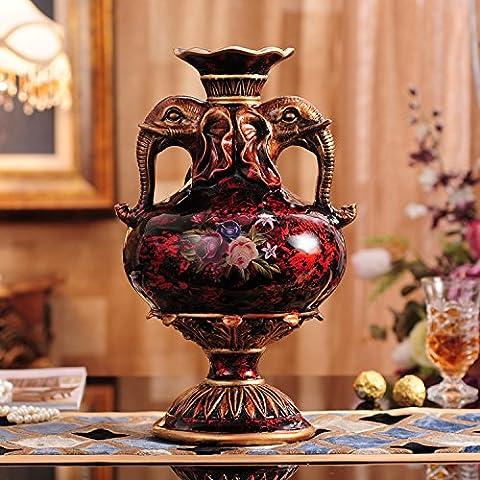 midtawer Vasi continentale Nordic Home Decor fiori di plastica plug-resin con regalo, 22* 22* 36cm, colore legno