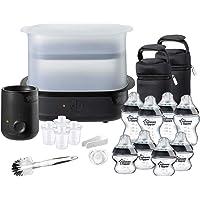 Tommee Tippee Steriliser, Warmer and 8x Bottles Complete Feeding Set, Black