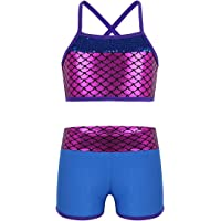 Freebily Kids Girls Sequins Sports Bra Crop Top with Booty Shorts Set Gymnastics Leotard Dancing Swimming Costumes