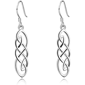 925 Sterling Silver Celtic Knot Hollow Dangle Earrings with Fishhook Gifts for Mom