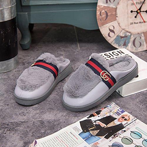 DogHaccd pantofole,Cotone felpato pantofole femmina soggiorno invernale coppie calde pantofole uomini e bella pelle pantofole indoor anti-slittamento non a pavimento Grigio4