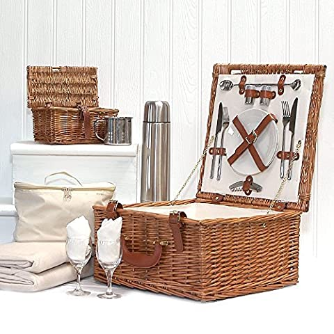 Deluxe Harpenden 2 Person Wicker Picnic Hamper Basket with Accessories for 2 Including a Chiller Bag and Fleece Picnic Blanket - Ideas for Birthday, Wedding, Anniversary and Corporate
