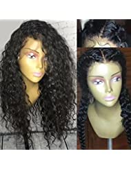 Unprocessed Brazilian Perruque Cheveux Humain Deep Curly wave Sans Colle 130% Density Lace Front Wigs with Baby Hair (16 inch,1B)