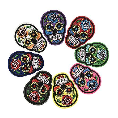 BoomYou Parches bordados calavera 7 paquetes Aduana bordada autoadhesiva Parches de mochila para Hombres, Mujeres, Niños, Niñas, Niños