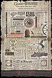 Póster Games of Thrones - Infografía (61cm x 91,5cm) + embalaje para regalo
