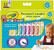 Crayola MINI KIDS-Pennarelli Super Lavabili a Punta Tonda, per Asilo e Tempo Libero, 12 colori, Assortiti, Pez