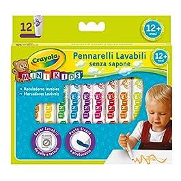 CRAYOLA Mini Kids-Pennarelli Super Lavabili a Punta Tonda, per Asilo e Tempo Libero, 12 Colori, Asso