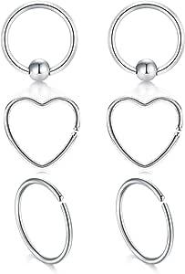 JFORYOU 3 Pair Acciaio Chirurgico Naso Anelli Cerchio Cartilagine Helix Tragus Trago Orecchino piercing cuore Anelli