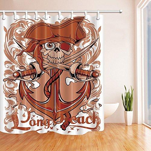 che Vorhänge für Badezimmer Navigation Anker Totenkopf und Polyester-Sword-Wasserdicht Bad Vorhang Vorhang für die Dusche Haken im Lieferumfang enthalten (Halloween-dusche Vorhang-set)