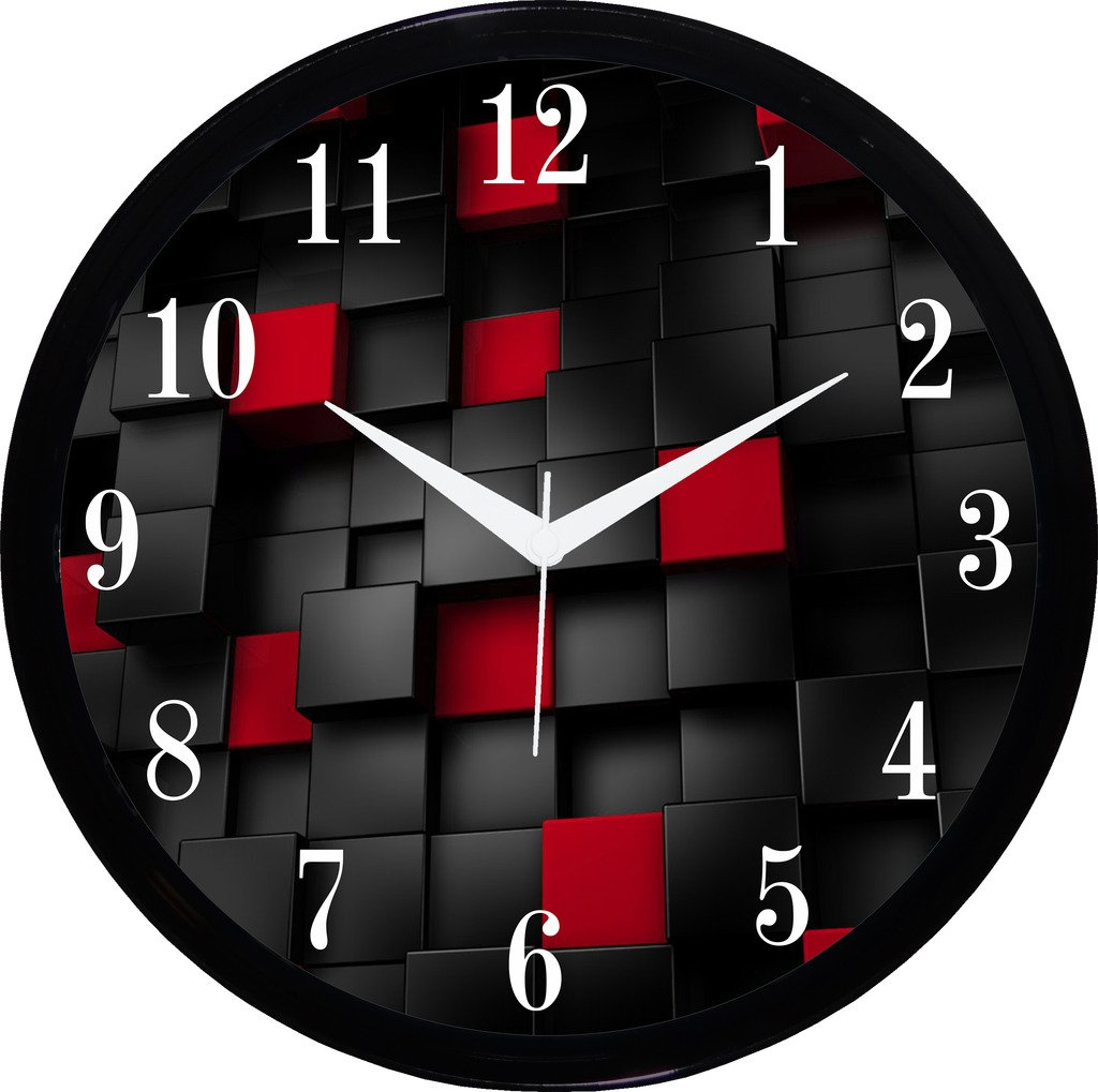 buy it2m round wall clock with glass for home bedroom living buy it2m round wall clock with glass for home bedroom living room kitchen red online at low prices in india amazon in